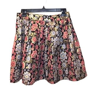 Floral Pleated Sparkle Midwaist Holiday Skirt